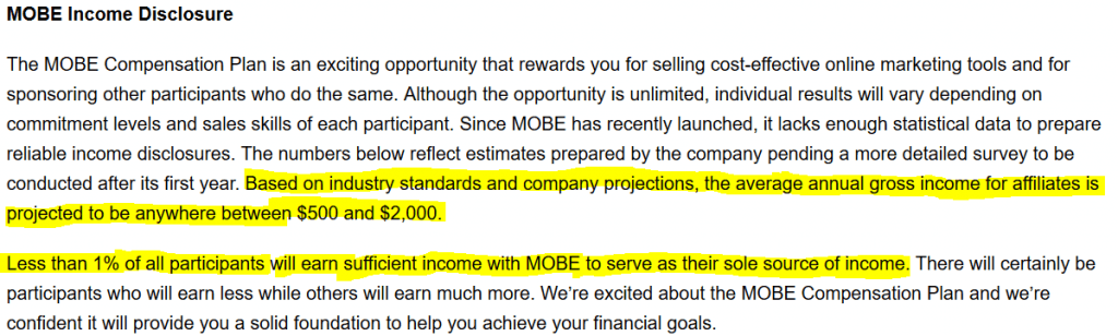 Mobe Income Disclosure