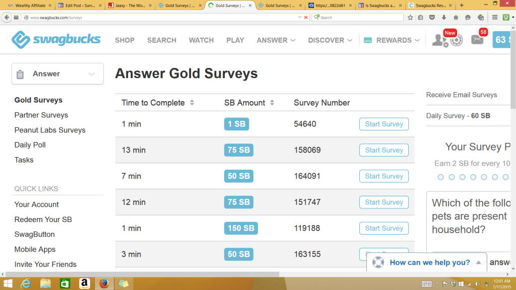 Taking Swagbuck surveys