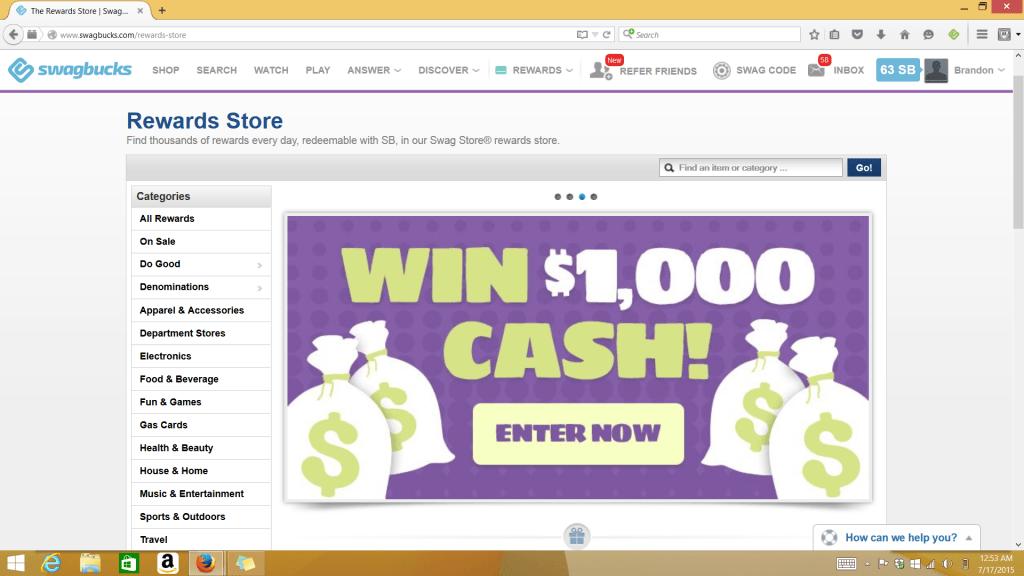 win real money on the Swagbucks rewards store