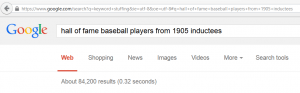 google results baseball keyword example