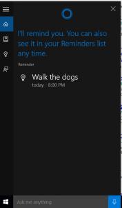 Cortona in Windows 10