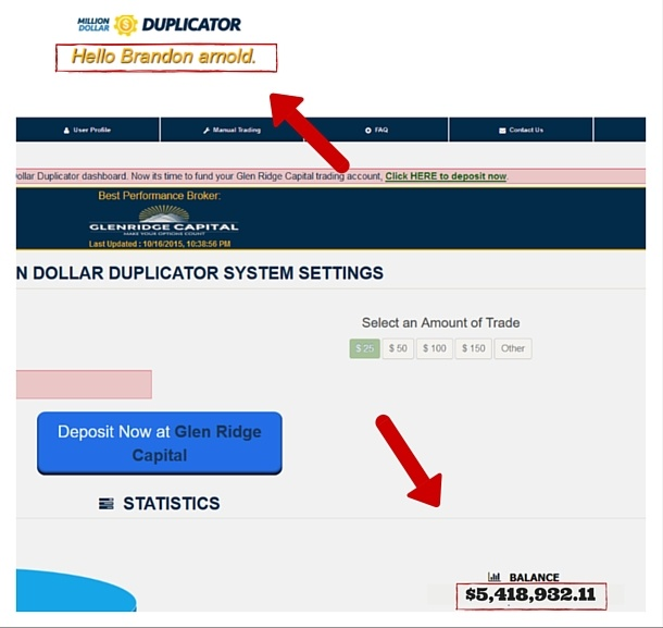 million dollor duplicator income