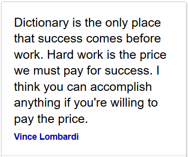 hard work is what you pay for success