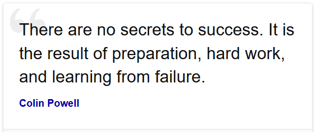 there no secrets to success