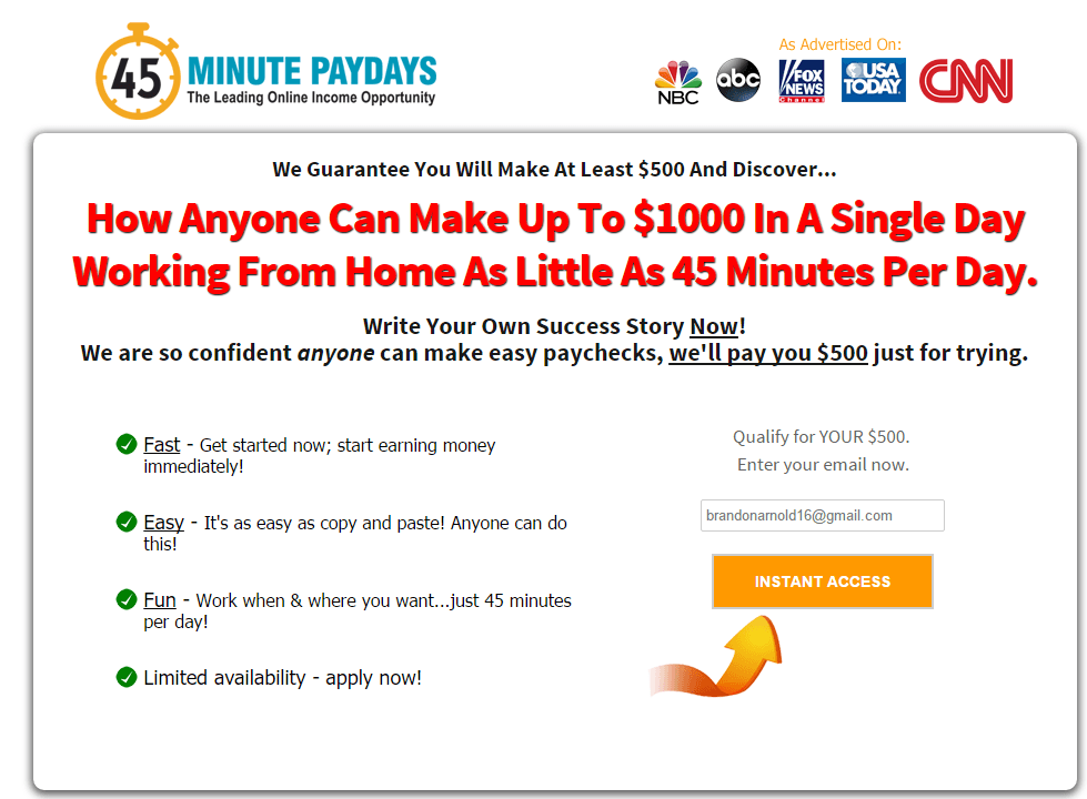 45 Minute Paydays Is A scam