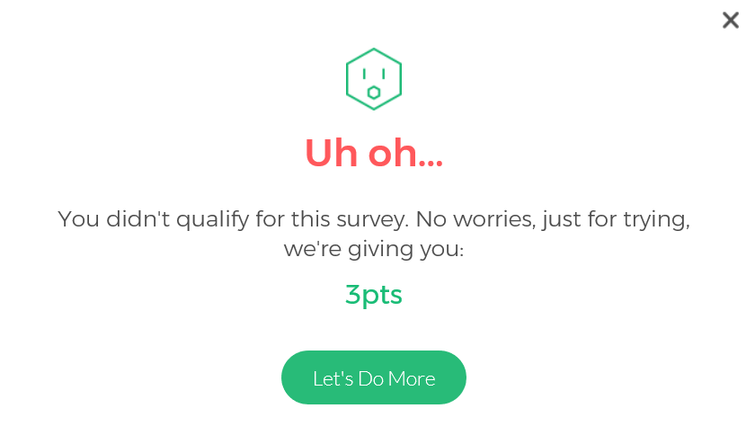 Survey Junkie did not qualify for survey