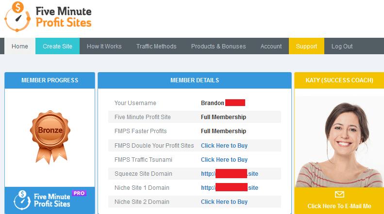 five minute profit sites members area