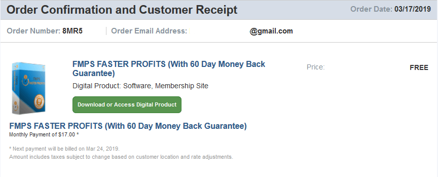 five minute profit sites receipt