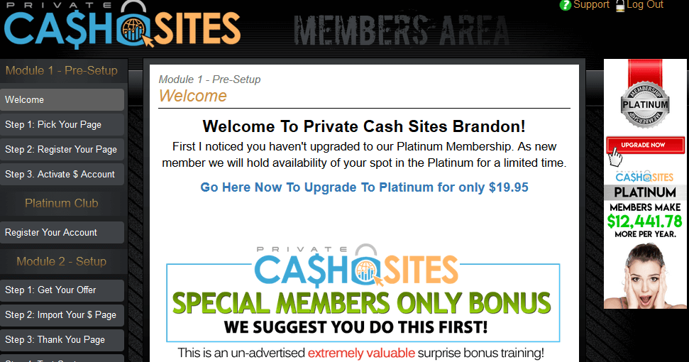 Inside Private Cash Sites Member's Area