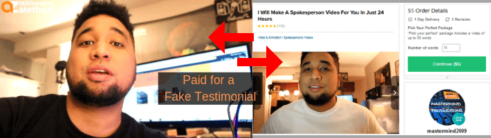 AZ Millionaire Method pays acctors for fake reviews