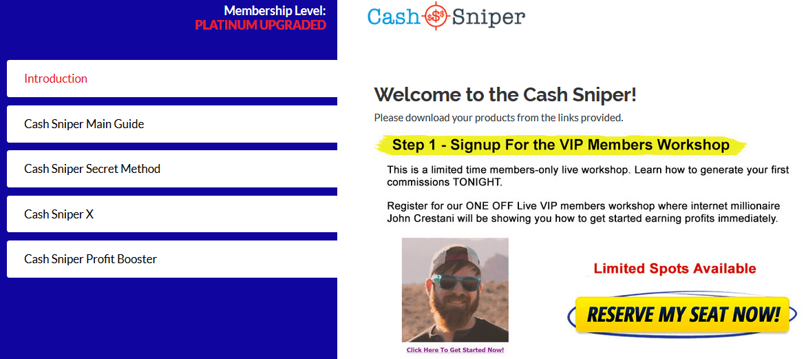 Inside The Cash Sniper System Member's Area