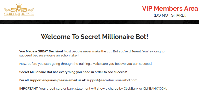 Inside Secret Millionaire Bot's Members Area